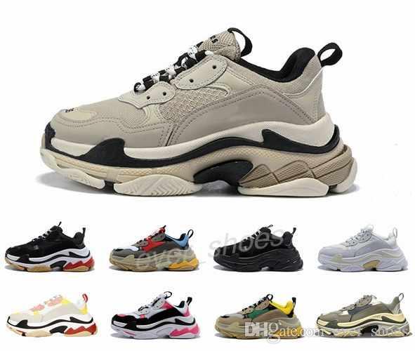 Nova plataforma de Triple S Paris 17FW Old Dad Baixa Sneakers Black White Combinação Soles Botas Homens Mulheres Sapatos Moda Casual 36-45