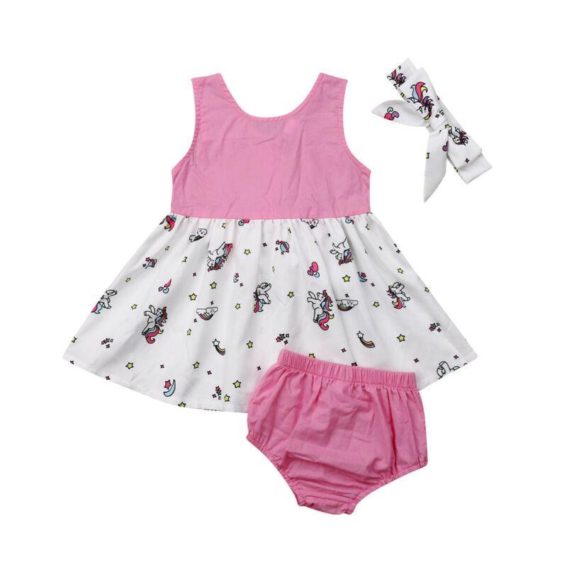 1-6Y 3PCS Çocuk Bebek Kız Unicorn Elbise Kıyafet Prenses Tutu Bow Elbiseler Yaz Kıyafet