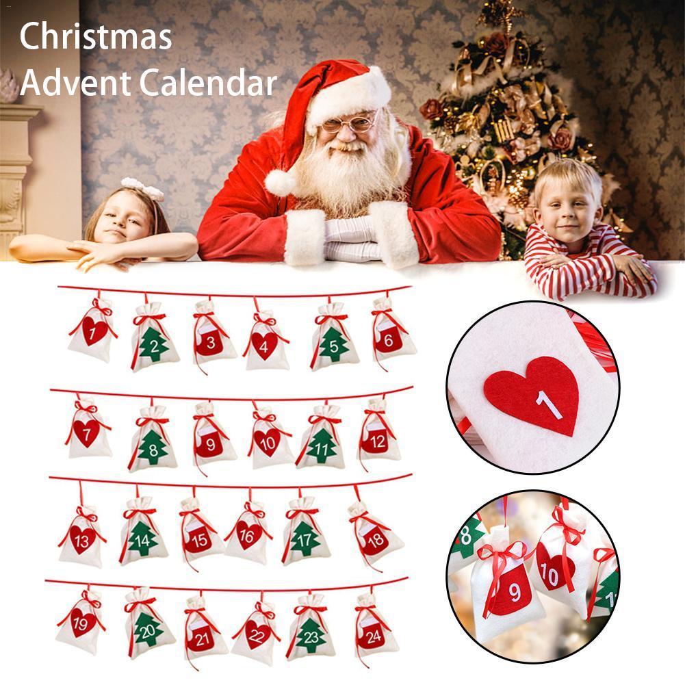 Weihnachten Hanging Taschen Beuter Non-Woven-Baum oder Herz-Muster-Zahl zeigt Beutel-Partei-Geschenk-Spielwaren-Kind-Maskerade-Dekor
