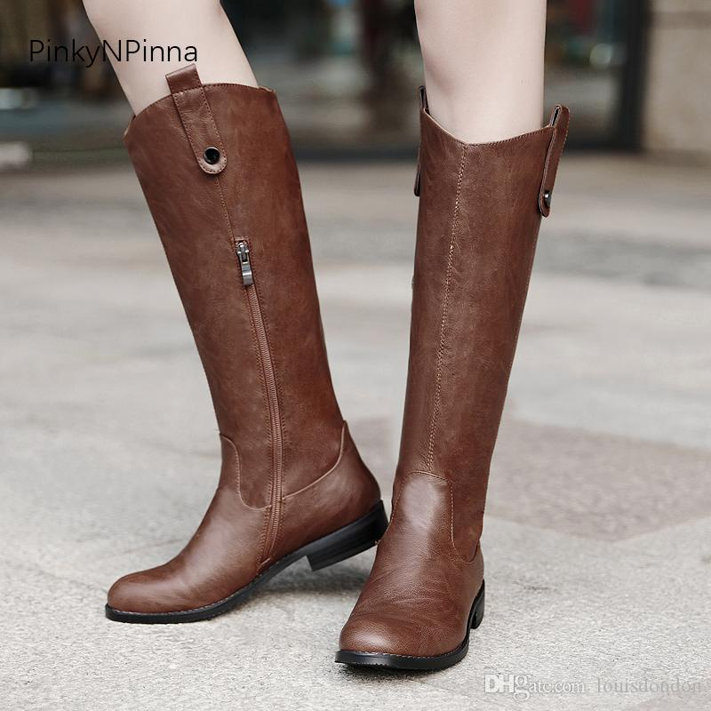 women knee high boots winter long boots vintage western style fashion Bohemina style ourdoor wild knight riding punk shoes plus size