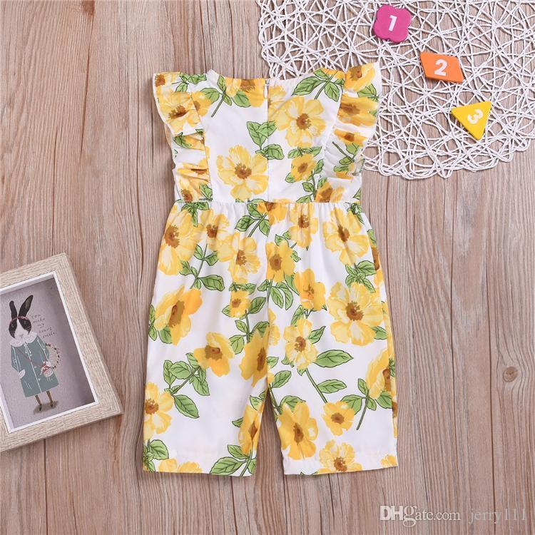 Yaz kız bebek çocuk giysileri 6M-3Y Yuvarlak yaka kelebek kollu Çiçek Baskılı tulum kız tulum çocuklar tasarımcı kıyafetleri kız JJY487