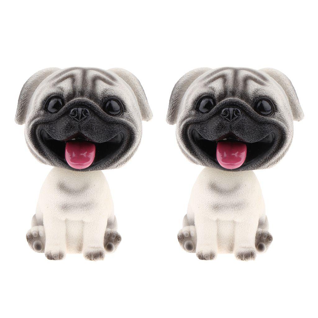 Résine Bobble Head Dog Figurine Toy Home Car Dashboard Décor Carlin