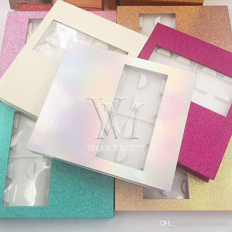 Nueva marca de lujo caliente del visión de pestañas 10 pares de la pestaña de almacenamiento caja de embalaje 9 Personalizar colores de almacenamiento vacío GRATIS Lash el caso de DHL