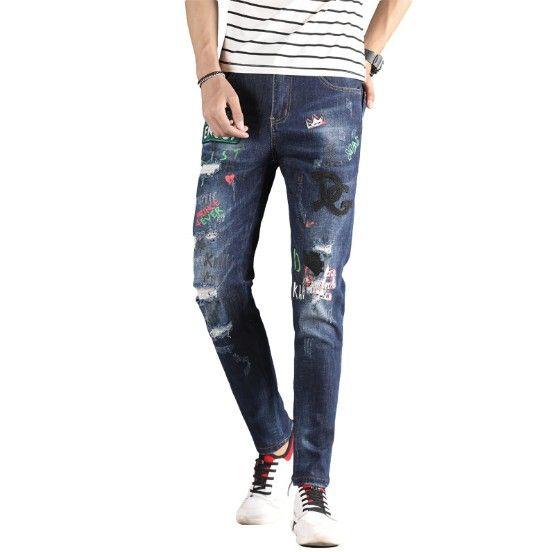 Mens Designer Jeans Moda Estilo Marca Lavados Letter Printing Mid cintura Calças Lápis Plus Size frete grátis