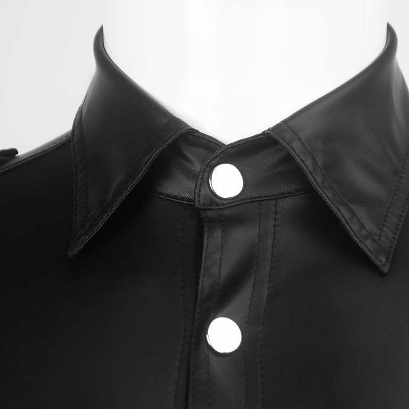 Pelle shirt AIIOU faux sexy nero uniforme bagnato Stretch Undershirt lattice della novità manica corta Clubwear Costume di scena