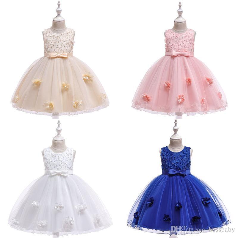Girl Princess Formal Dress Lace Beading Gauze Sleeveless Vest Baby Kids Ball Gown Dresses Girls Dresses 4-10T 07