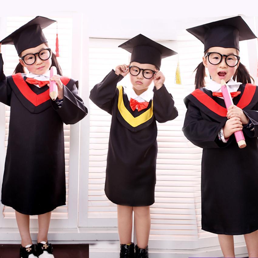 Children Bachelor Gown Girls Performance Dress School Boy Class Team Wear Kids Party Robe with Bow Tie Baby Graduation Costume