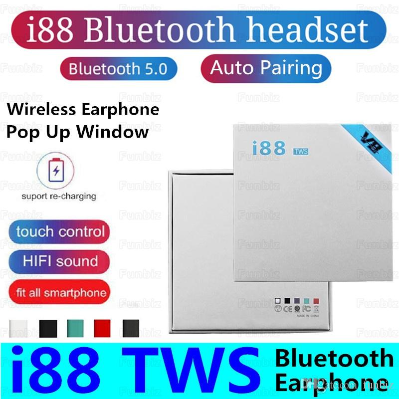 i88 TWS Wireless Bluetooth Headphones V5.0 Stereo Cell phone Earphones Sports Auto Pairing Headphone Touch Portable Earbuds for Smart Phones