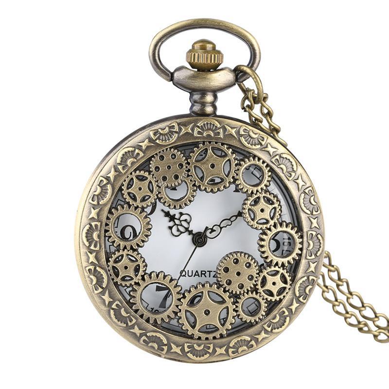 시계 포켓 독특한 기어 디자인 쉘 석영 주머니 시계 아날로그 펜던트에 대한 남자를 섬세하게 조각 된 선물