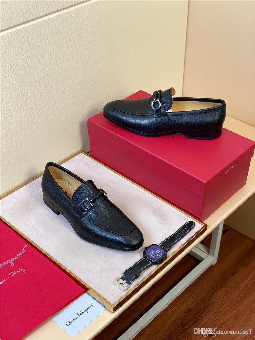 19FW marcas de lujo vestido de zapatos del modelo italiano de alta calidad de cocodrilos hombres de la boda zapatos de cuero de moda de los hombres de negocios zapatos formales LISY1