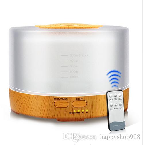 محدث الهواء 500ML مع جهاز التحكم عن بعد الضروري النفط الناشر بالموجات فوق الصوتية ميست صانع بالموجات فوق الصوتية رائحة الناشر البخاخة لون الصمام