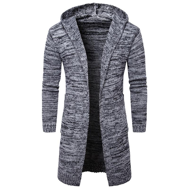 Мужские свитера 2021 осень с капюшоном Кардиган Длинное пальто Мужчины Англия Стиль Рабочая одежда Повседневная толстовка Свитер Мужской Размер одежды