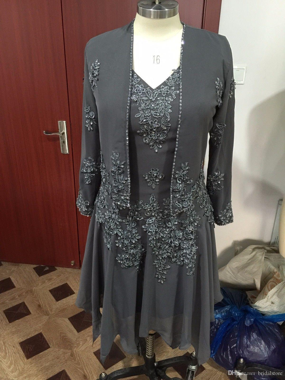 Custom Made Gray Two Piece Mother Bride Dresses With Jacket Coat Appliques Beaded Long Sleeves Chiffon Mother Of The Bride Dress For Wedding