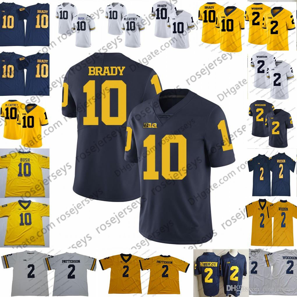 NCAA Michigan Wolverines # 10 Tom Brady Jersey Hot Sale # 2 Charles Woodson Shea Patterson 2019 New College Football Navy Blue White Yellow