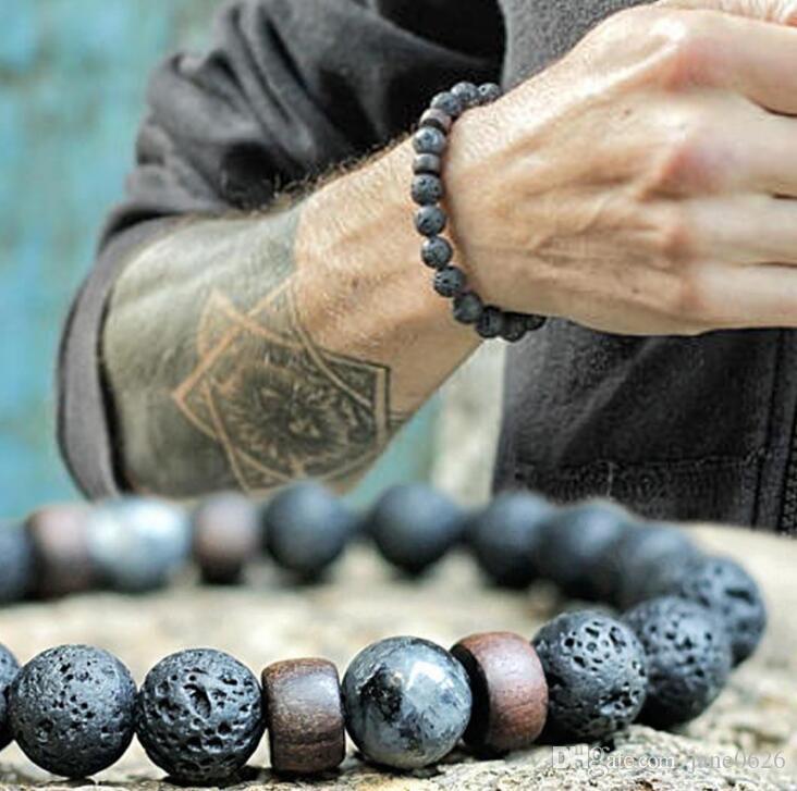 8 ملليمتر البركانية ستون الخشب حبة اليد سلسلة سوار الحجر الطبيعي مجوهرات الطاقة للرجال والنساء