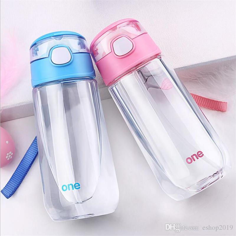500 ML Kids Boys Girls Outdoor Magic Water Bottle Hot Juice Water Bottles Portable Carrying Rope Student Clear Plastic Bottle with Straw