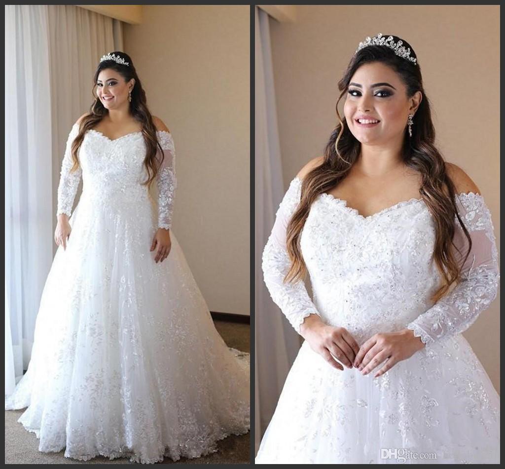 2020 Une Ligne À Manches Longues Musulman Robes De Mariée Plus La Taille Cristal Dentelle Applique perlée Robes De Mariée Afrique du Sud robes de mariée