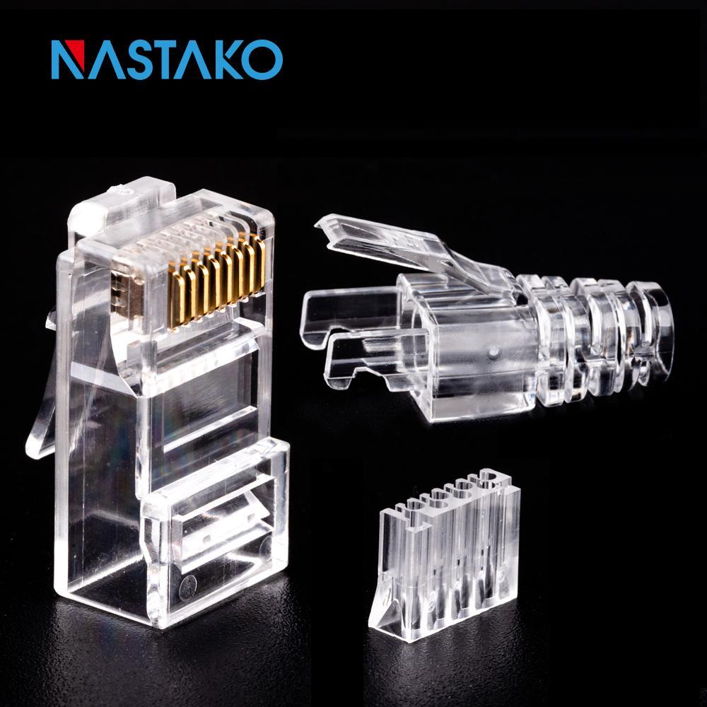 Ordinateur de Bureau NASTAKO 50 / 100pcs Cat6 RJ45 UTP connecteur Ethernet câble Jack 8P8C réseau CAT 6 modulaire Prises avec Caps RJ45 6.5mm