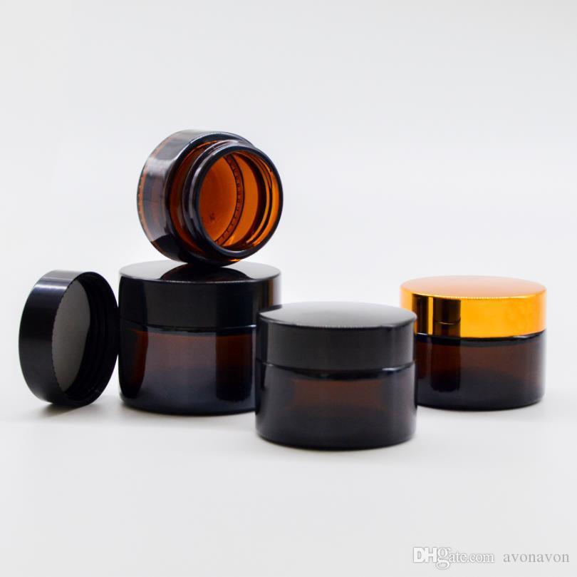 gold sliver cover tea cream bottle 15g 20g 30g 50g 100g 5g 10g glass face Frosted transparent mask bottles perfume bottling CZ234