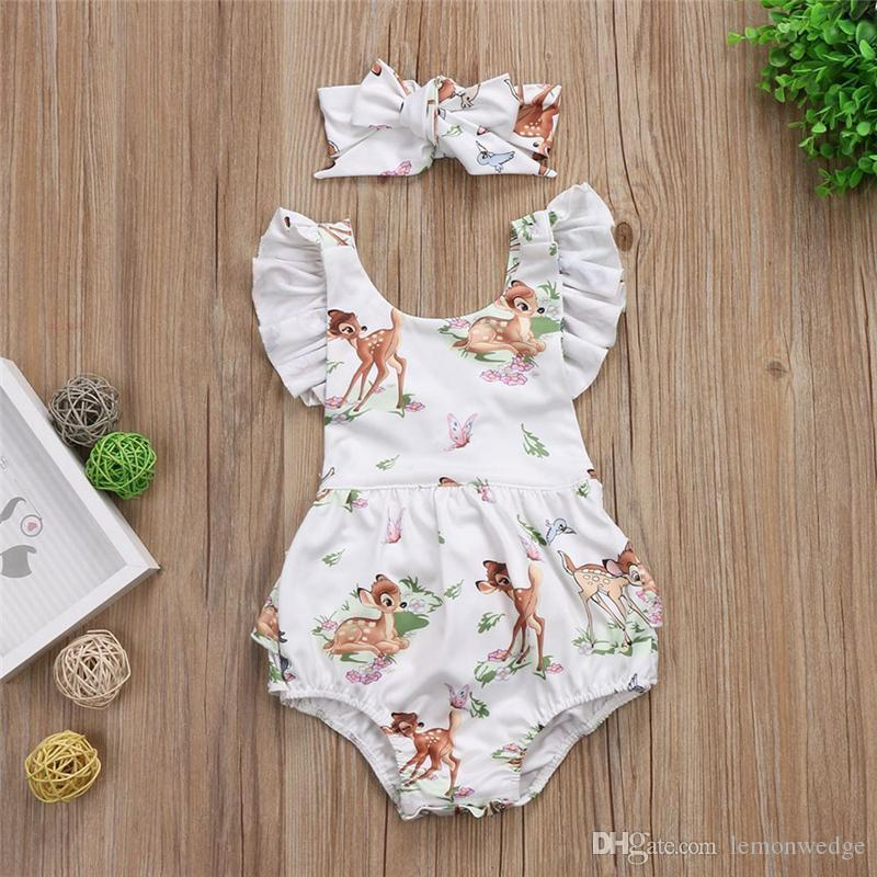 Newborn Kids Baby Girls Flower Romper Pants Jumpsuit Headband Outfits Clothes UK