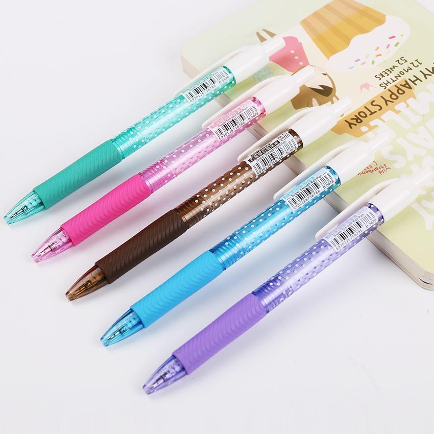 1pc bonbons couleur à pois Stylo à bille Kawaii Pen Fournitures de bureau d'apprentissage des étudiants cadeau B-5678