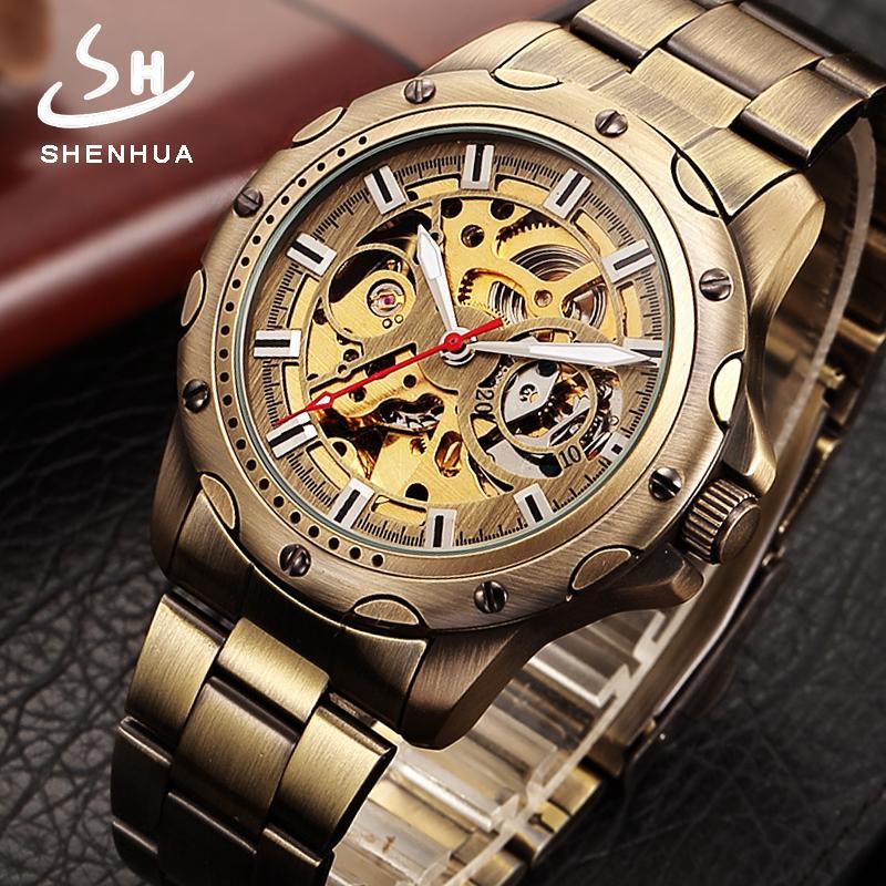 Shenhua Mens Bronze Squelette Automatique Montre-Bracelet Mécanique à Remontage Hommes Montres En