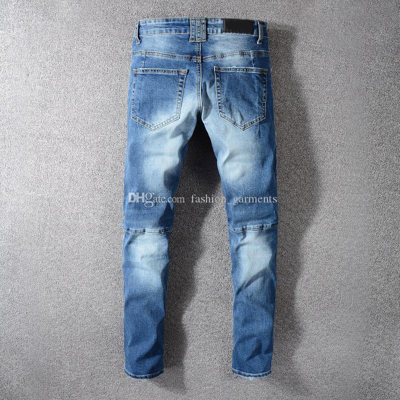 Mens estilista Jeans Hip Hop desteñida Zipper Casual Jeans rasgados pantalones de mezclilla azul tamaño 29-42
