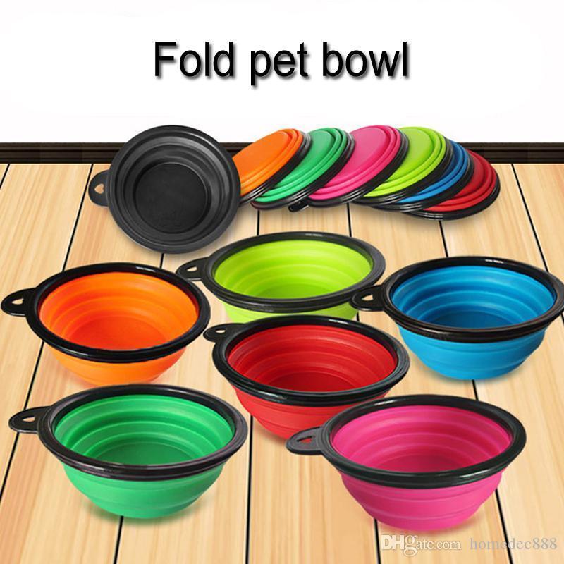 All'ingrosso 7 colori Outdoor Travel portatile pieghevole Pet Dog Cat Alimentazione Bere ciotola in silicone Pieghevole piatto acqua Feeder ciotola del cane DH0275