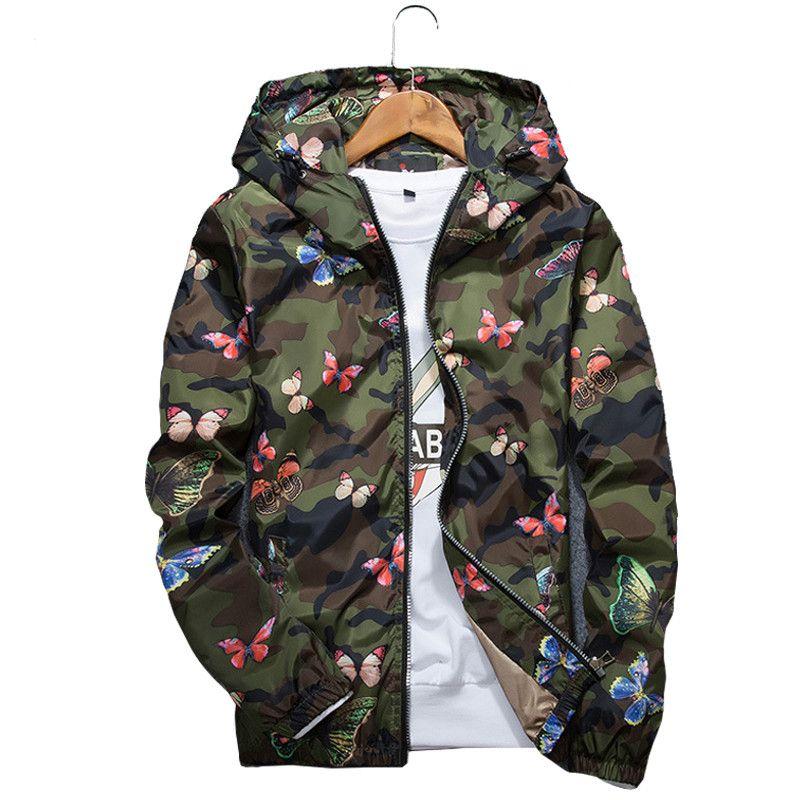 Mens ocasionales camuflaje chaqueta con capucha del nuevo otoño 2020 Imprimir la mariposa ropa de abrigo con capucha de los hombres rompevientos Outwear masculino streetwear