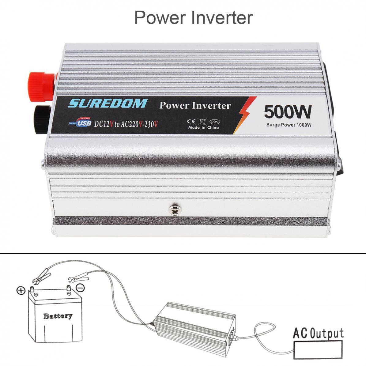 Freeshipping 500W DC 12V 24V to AC 220V 110V Vehicle Power Inverter USB Adapter Portable Voltage Transformer Car Charger Surge Power 1000W