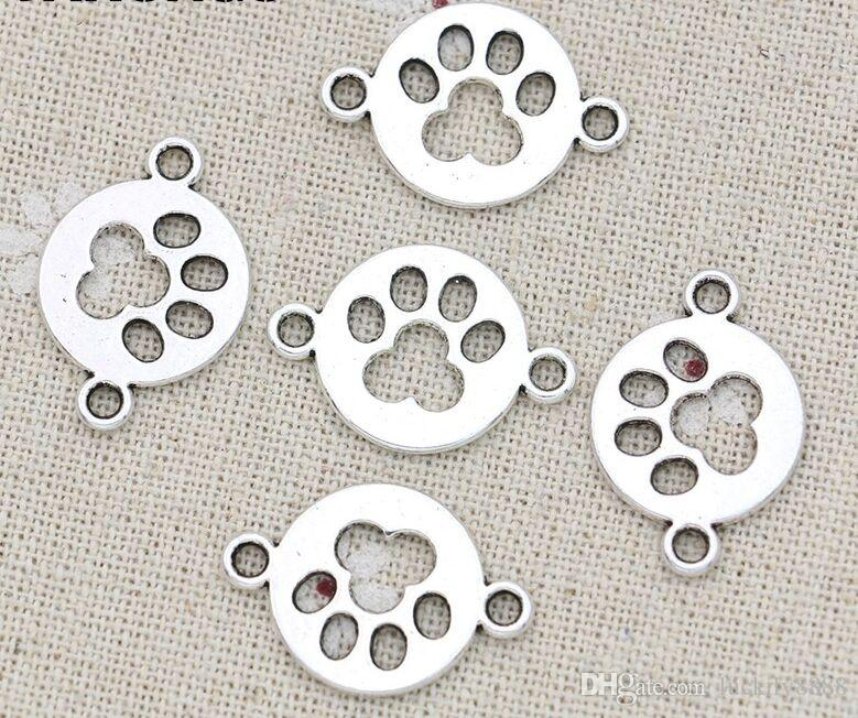 100Pcs Vintage Silver Paw Print Dog Footprint charms Connectors for Bracelet Charms Jewelry Making 24x17mm