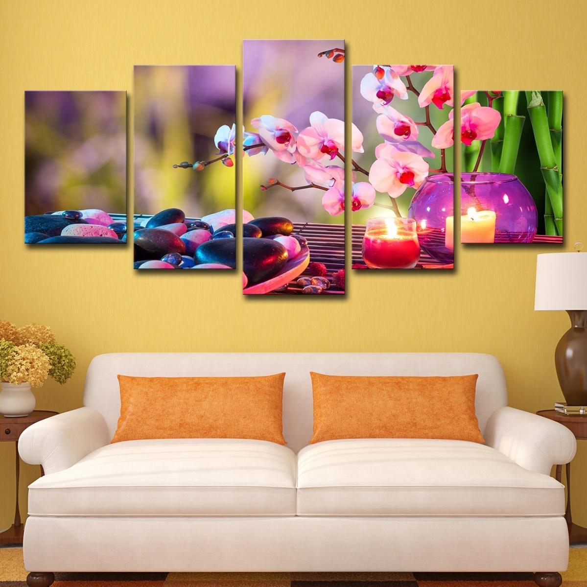 (유일한 캔버스 프레임 없음) 5Pcs 퍼플 나방 난초 캔들 유화 포스터 벽 아트 HD 인쇄 캔버스 페인팅 패션 매달려 사진