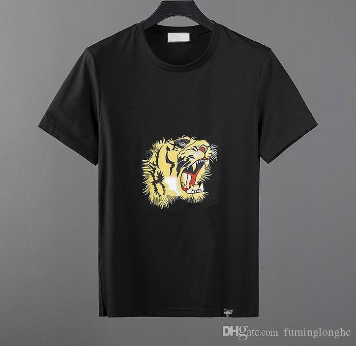 Yüksek kalite moda tasarımcısı kısa T-shirt Avrupa tarzı erkek yuvarlak boyun T-shirt% 100% pamuk kısa kollu erkek giy ...