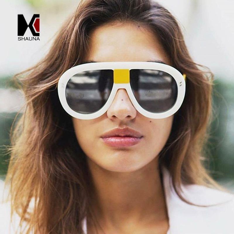 Atacado Oversize Double Colors Frame Mulheres Piloto Sunglasses Brand Designer Moda Prego Decoração Men Black Lens Shades