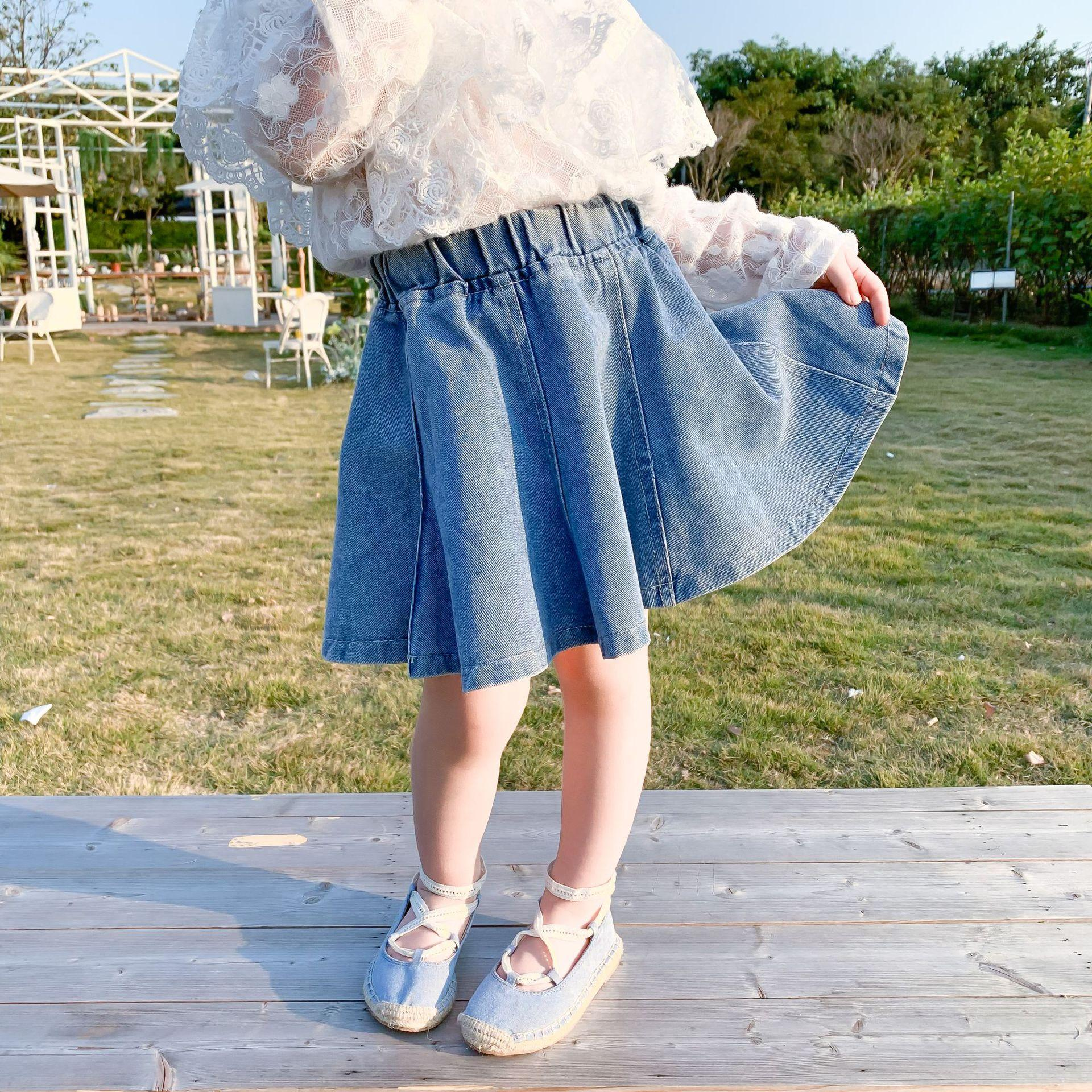 베이비 키즈 데님 블루 캐주얼 진 스커트 유아 여자 옷 A1890 2020 새로운 여자 부드러운 카우보이 주름 치마 어린이 스커트