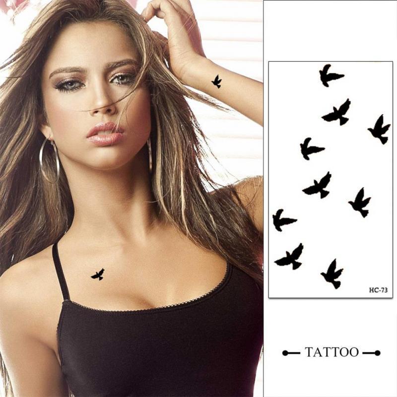 10PCS poignet tatouage temporaire Autocollants Body Art temporaire imperméable petits oiseaux Motif Tattoo tatouages autocollants pour les hommes femmes