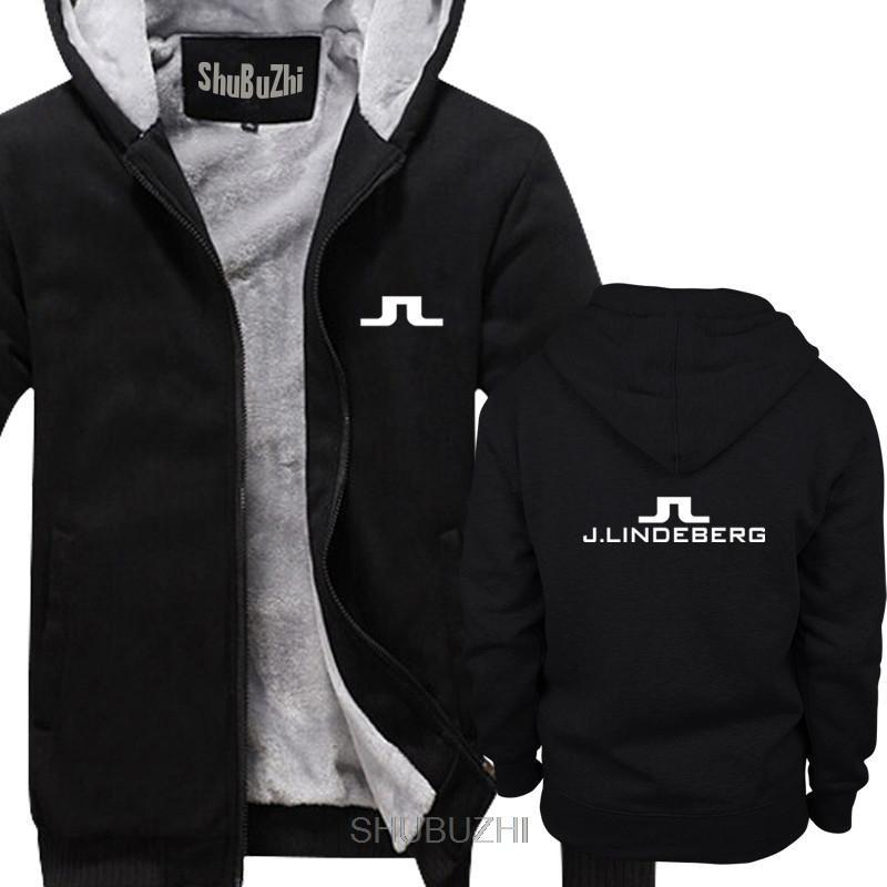 Conducir a los hombres del logotipo del vintage sudaderas gruesas J Lindeberg golfista del envío con capucha de la chaqueta de los hombres casual masculina cómico de los hombres de invierno cálido
