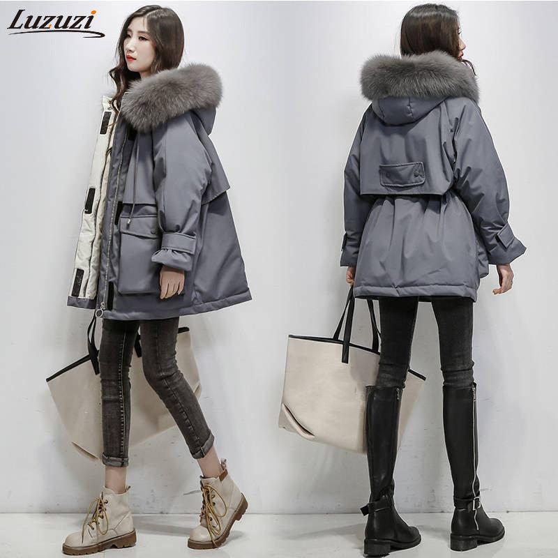 Luzuzi Kış Kadınlar Gerçek Natürel Yaka Kapşonlu Aşağı Gevşek Coat Parka Kadın Kalın Sıcak Beyaz Aşağı Oversize Jacket Ördek