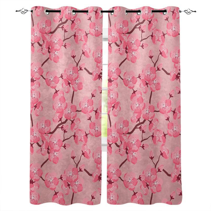 Japanese Cherry Blossom Window Curtains for Living Room Decorative Items Living Room Household Goods