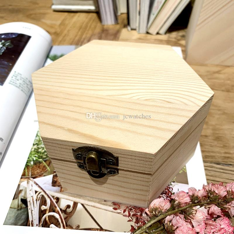 Hexagon Shaped Wood Boxes Wedding Gift Box Soap Flower Package Case Fashion Portable Storage Boxes for Jewelry Display