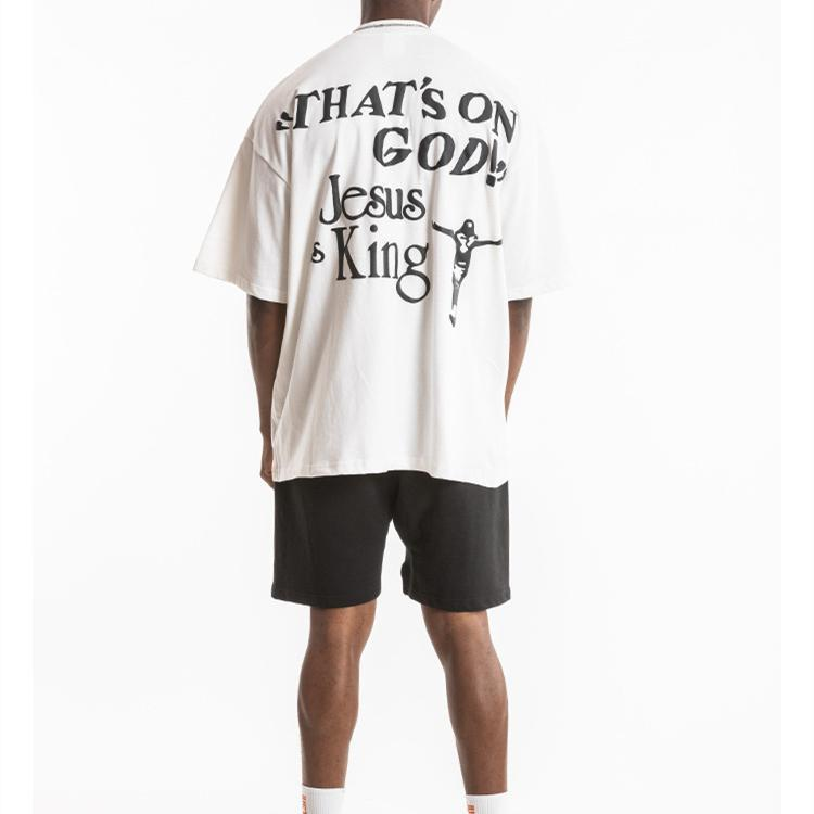 Nagri europeo e marca di marea di abbigliamento American men di Kanye stesso paragrafo Gesù è KING album Kanye sciolto a maniche corte uomo T-shirt