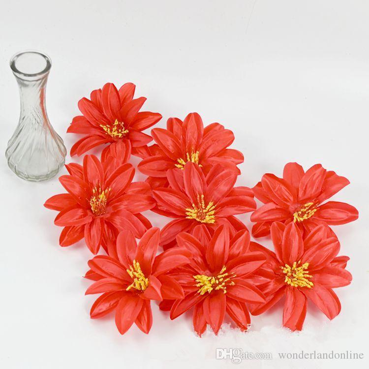 12CM 9colors 실크 연꽃 인공 가짜 꽃 DIY 웨딩 자동차 장식 꽃