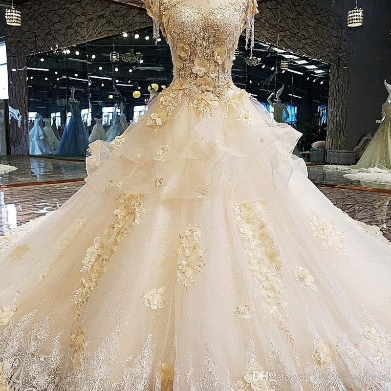 2019 Luxe Design Robe récent mariage élégant pour la mariée col montant 3D fleur perles robe de bal Sans manches dentelle robe de mariage de vraies photos