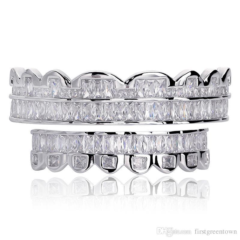 جديد الرغيف الفرنسي مجموعة الأسنان جريلز الأعلى أسفل الفضة المشاوي لون الأسنان الفم الهيب هوب الأزياء والمجوهرات مغني الراب