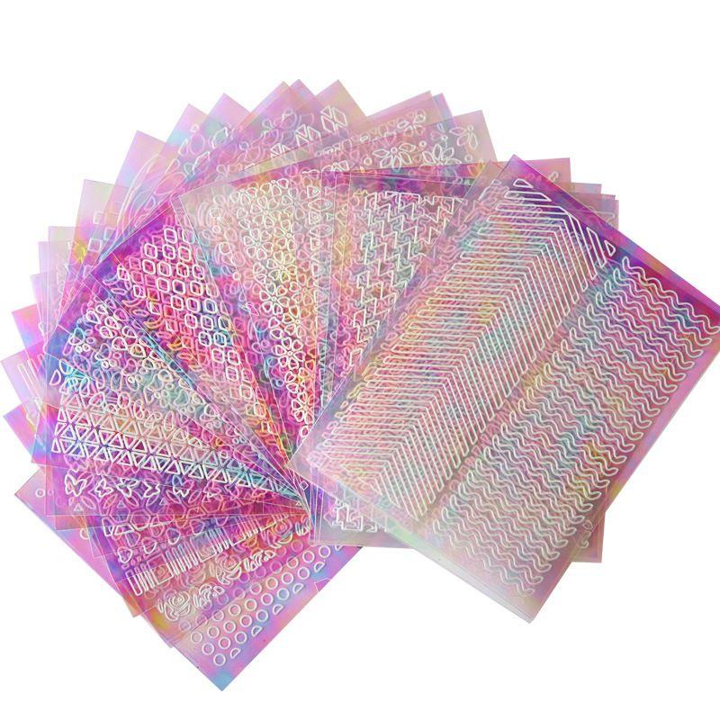 24 Стили / комплект Цвет Ногтей Наклейки Наклейки Лазерная Обесцвечивание Наклейка Маникюр Искусство Украшения Для Женщин