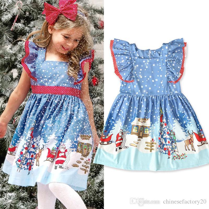طفلة عيد الميلاد اللباس حزب تأثيري حلي الأميرة سانتا كلوز الغزلان الأيائل اللباس أكمام ضمادة تنورة