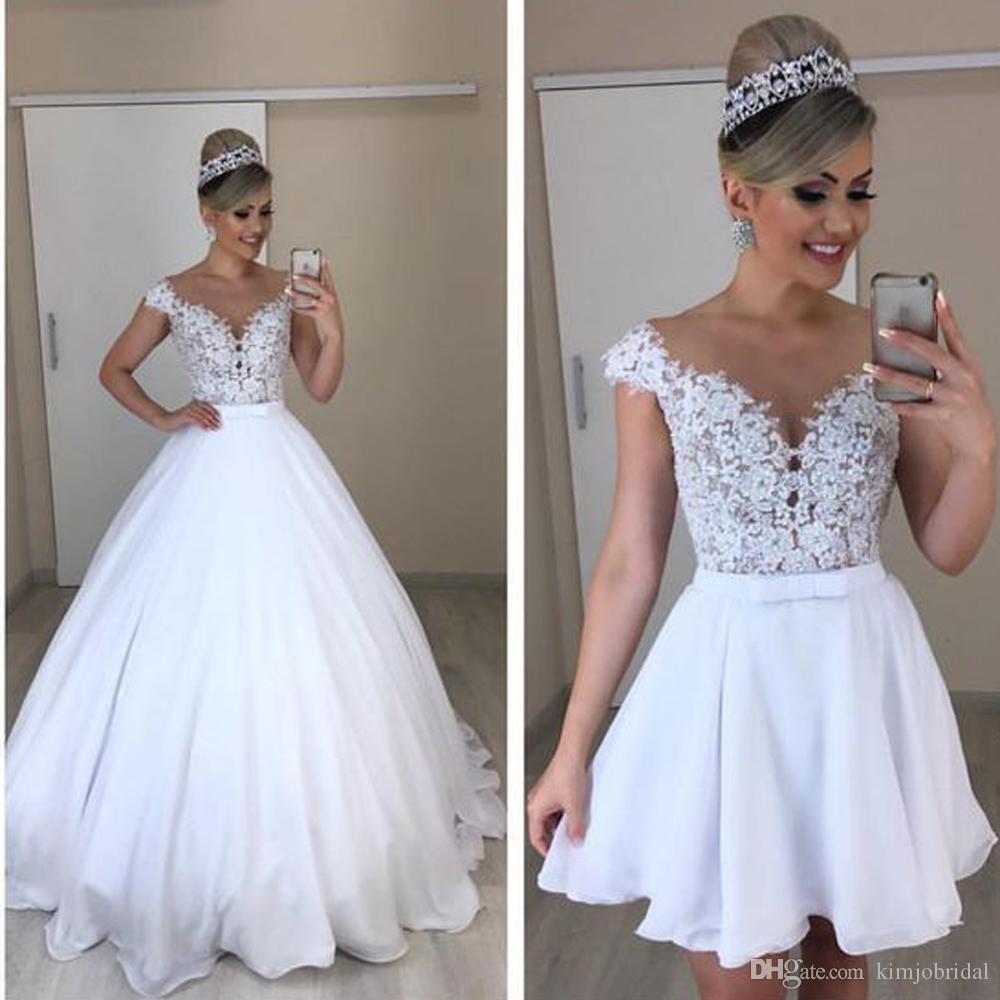 detachable wedding dress 2020 sweetheart neckline lace appliques off the shoulder bridal dresses lace vestidos de noiva