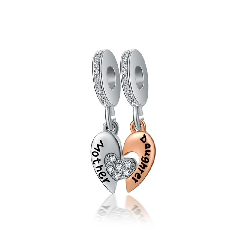 Summer Beach Mother Daughter Heart Shaped Charms Bracelet Fits for Pandora Style Charms Bracelets for Mother Day Gift
