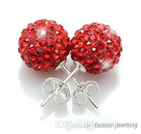 30 paia / lotto 10mm y36 gioielli spedizione gratuita strass colori della miscela bianco nuova discoteca palla perline di cristallo crystall orecchini di cristallo stud j343