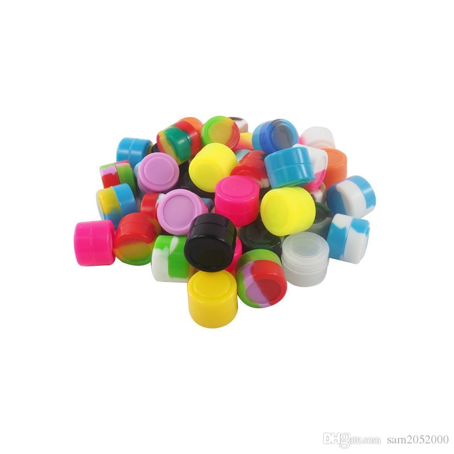 1000 sztuk / partia 2ml Pojemnik Silikonowy Słoik Oil Jar Box Assorted Kolor Silikonowy Pojemnik do Wax Vaporizer Darmowa Wysyłka